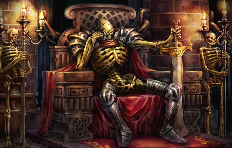 Фото обои смерть, огонь, меч, свечи, цепь, красные глаза, склеп, трон, скелеты, подземелье, стража, Dragon's Crown, Vanillaware, …