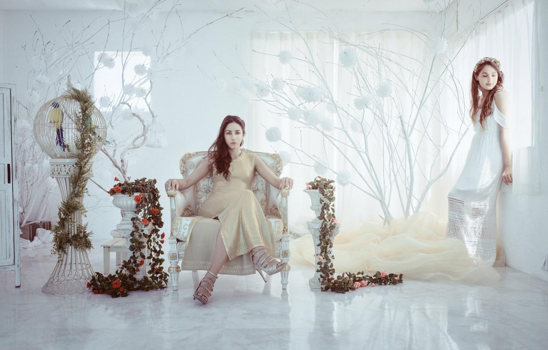 Фото обои цветы, комната, интерьер, кресло, клетка, две девушки