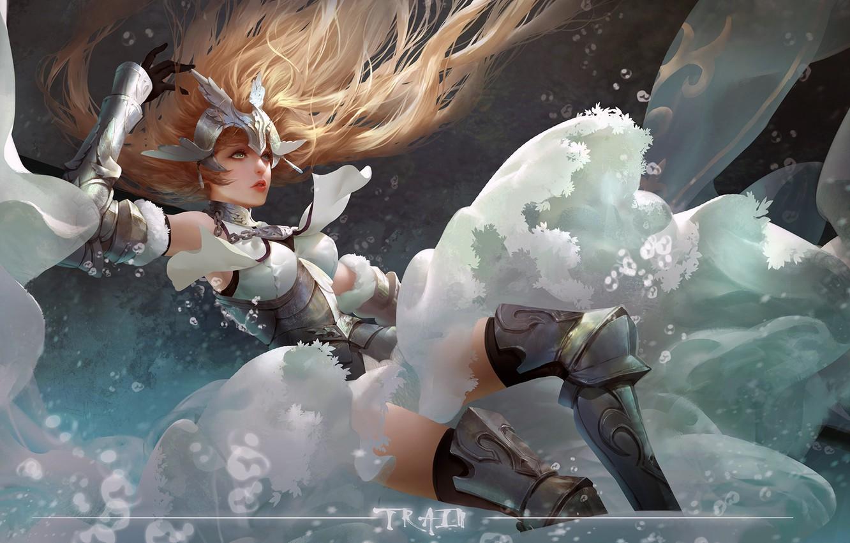 Фото обои girl, fantasy, armor, long hair, anime, art, blue eyes, blonde, digital art, artwork, warrior, fantasy …