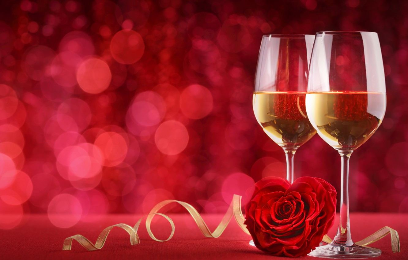 Фото обои бокалы, red, love, background, romantic, bokeh, valentine's day, roses, champagne