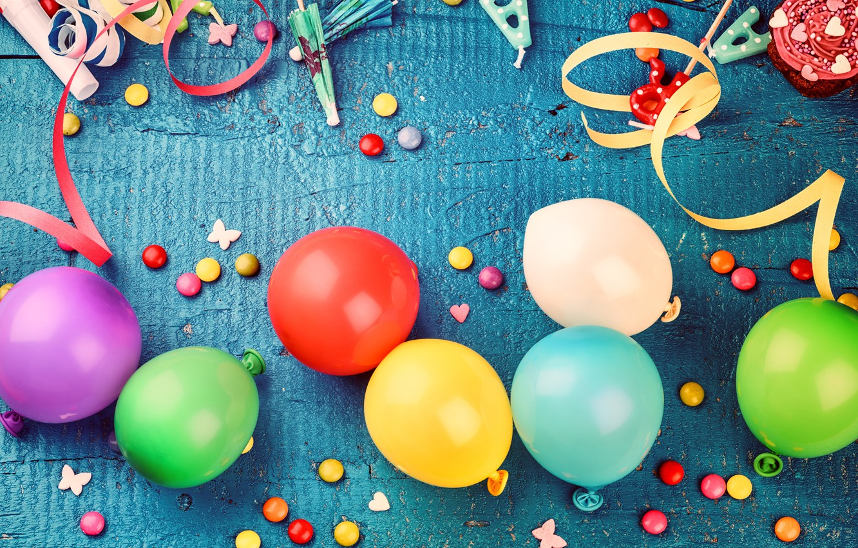 Фото обои украшения, воздушные шары, конфеты, сладости, Happy Birthday, decoration, День Рождения, holiday celebration