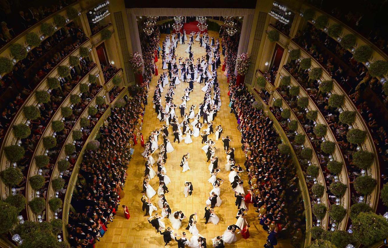 Фото обои танец, Австрия, зал, Венская государственная опера, оперный бал