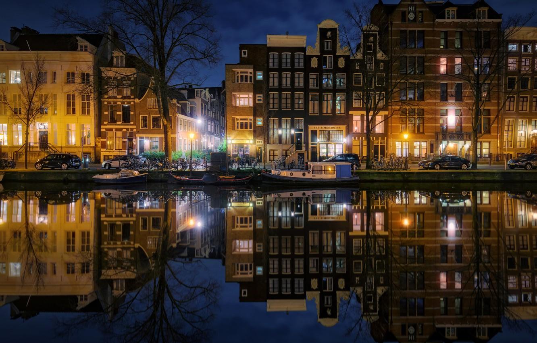 Фото обои ночь, город, огни, вечер, Амстердам, канал, Нидерланды
