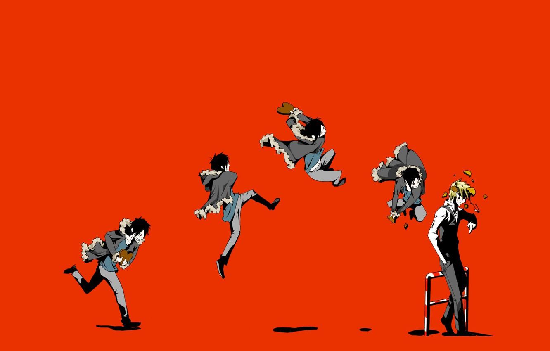 Фото обои обломки, прыжок, удар, art, хулиган, Heiwajima Shizuo, Durarara!!, адская ухмылка, Orihara Izaya, садист, Pikushi Buaidhy
