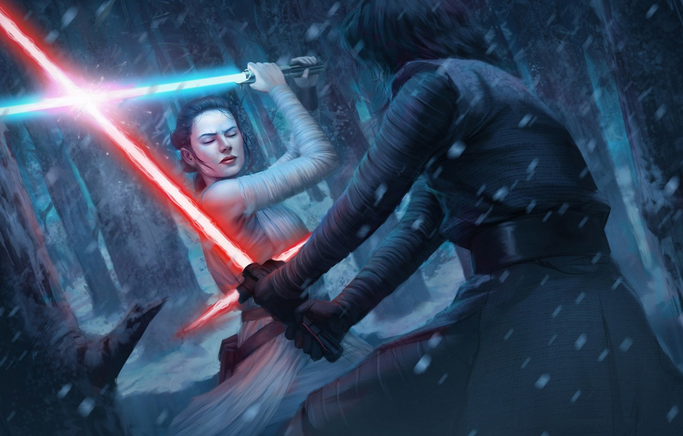 Фото обои Star Wars, art, Lightsaber, rey, kylo ren, Star Wars: Destiny