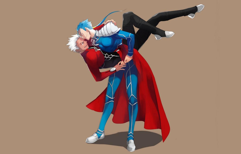 Фото обои танец, парни, лансер, арчер, Fate / Stay Night