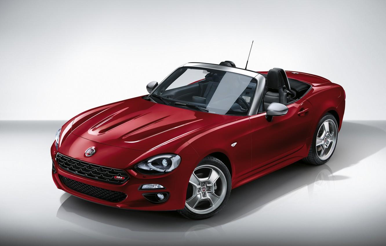 Фото обои красный, фон, родстер, диски, Fiat, 124 Spider, Europa Limited Edition