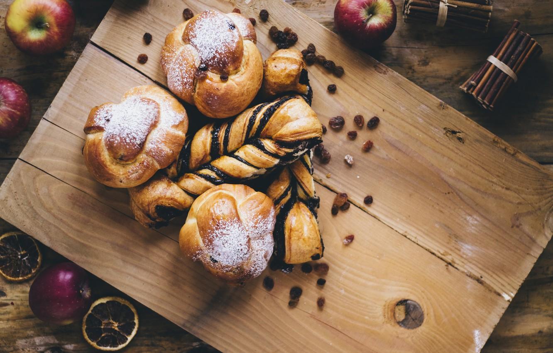 Фото обои яблоки, мак, еда, выпечка, сахарная пудра, булочки, изюм, apples