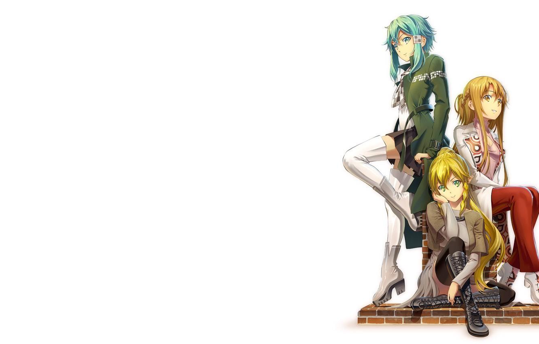 Фото обои girl, minimalism, anime, Yuuki Asuna, Sword Art Online, anime girls, white background, simple background, Leafa, …