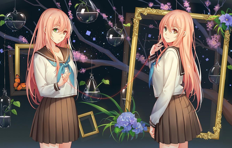 Фото обои девочки, аниме, рамка, арт
