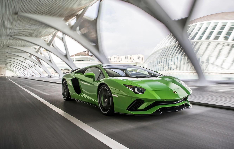 Фото обои green, скорость, Lamborghini, 2017, Aventador S