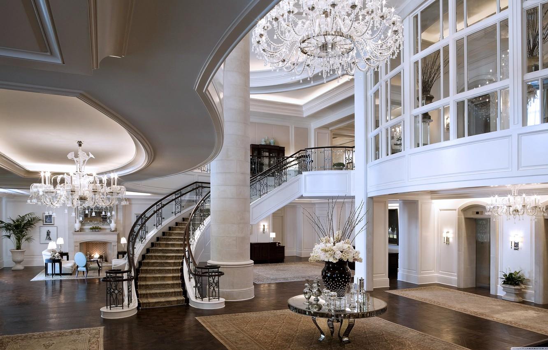 Фото обои лестница, люстра, камин, отель, Mandarin Oriental Hotel