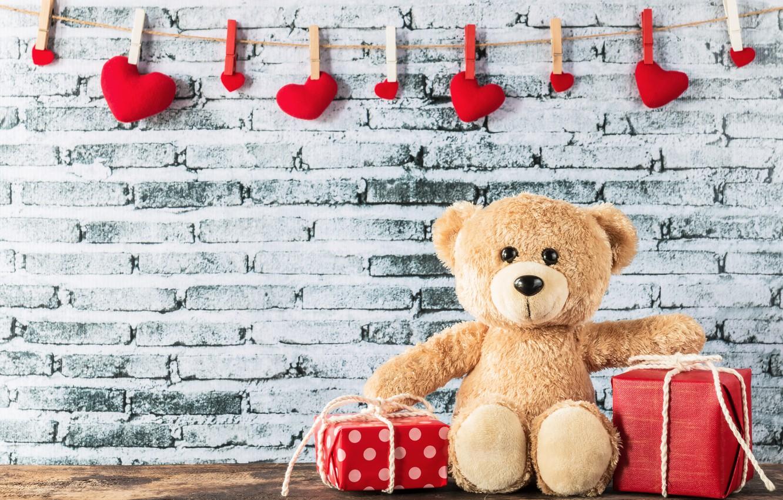 Фото обои любовь, сердце, подарки, сердечки, red, love, box, bear, heart, wood, romantic, teddy, valentine's day, gift