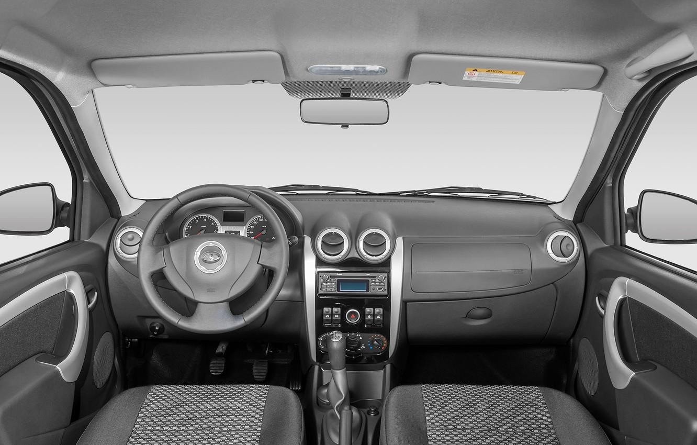 Фото обои серый, руль, салон, Lada Largus, серибристый