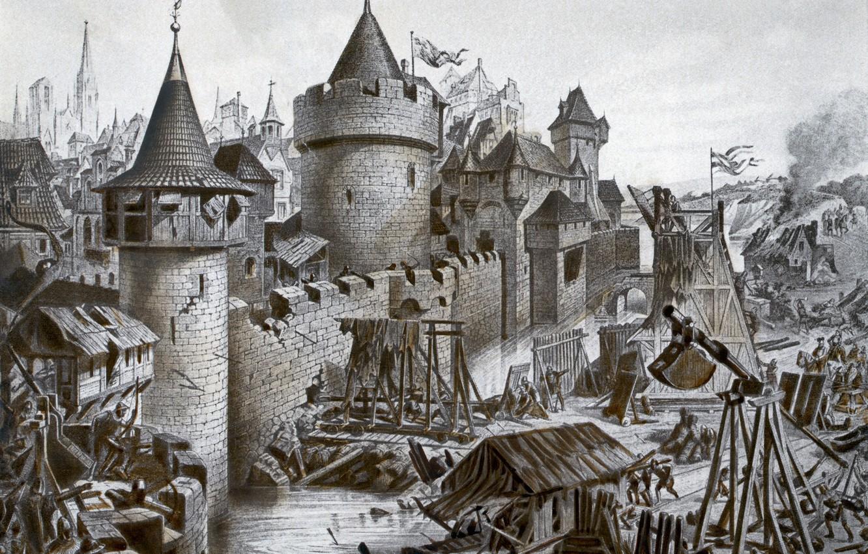 Фото обои замок, Gravure, чёрно - белая, Осада Лукоморска