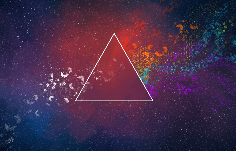 Фото обои Музыка, Космос, Треугольник, Pink Floyd, Арт, Призма, Рок, Тёмная сторона Луны, Пинк Флойд, The Dark …