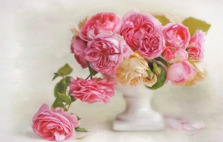 Фото обои цветы, розы, лепестки, арт, ваза
