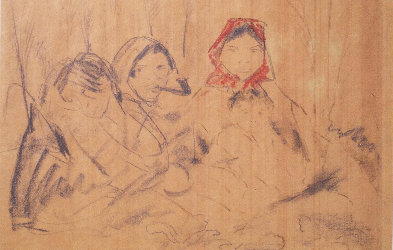 Фото обои детёныш, красный платок, Экспрессионизм, Отто Мюллер, три бабы, ca1926, Zigeunerfamilie