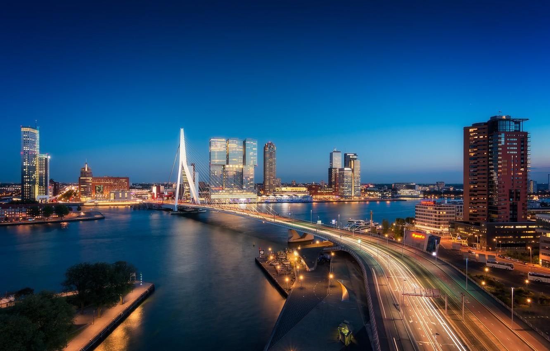 Фото обои мост, огни, река, Нидерланды, ночной город, skyline, Голландия, Роттердам, Rotterdam