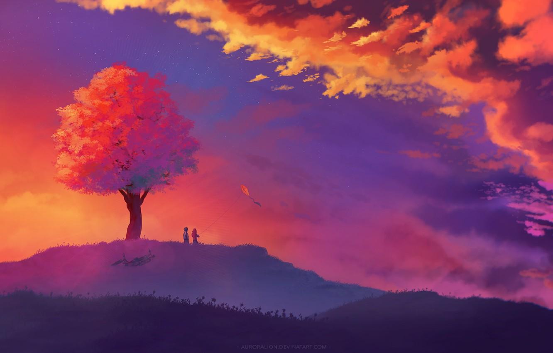 Фото обои облака, дети, холм, двое, одинокое дерево, закатное небо, бумажный змей