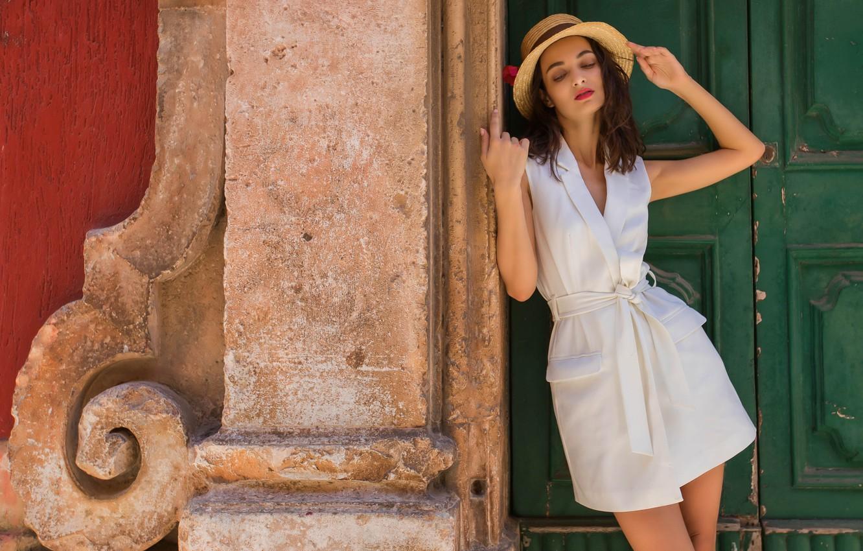Фото обои лето, лицо, стиль, модель, волосы, шляпа