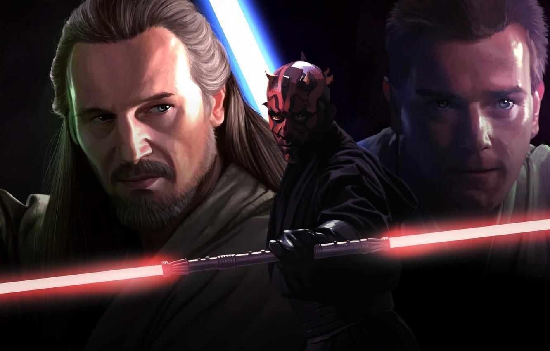 Фото обои Obi Wan Kenobi, Movie, Qui-Gon Jinn, Звёздные войны. Эпизод I: Скрытая угроза, Star Wars Episode ...