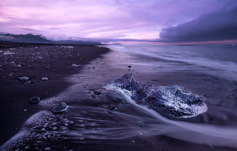 Фото обои море, закат, берег, лёд