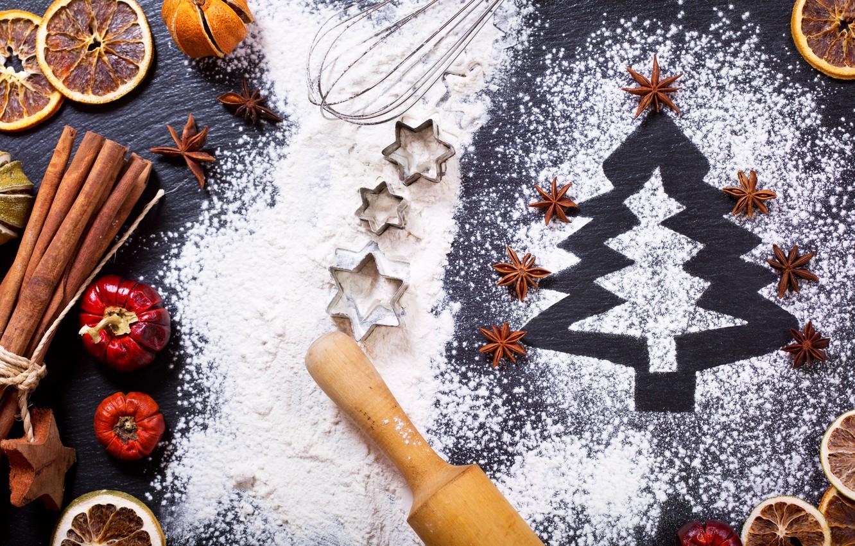 Фото обои елка, апельсин, Новый Год, Рождество, корица, merry christmas, мука, decoration, xmas