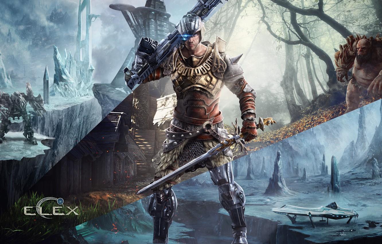 Фото обои лед, лес, снег, оружие, дерево, робот, меч, герой, пушка, броня, времена, тролль, Piranha Bytes, ELEX, …