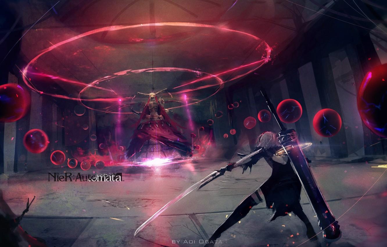Фото обои девушка, оружие, меч, арт, сражение, nier, yorha unit no. 2 type b, nier: automata, aoi …