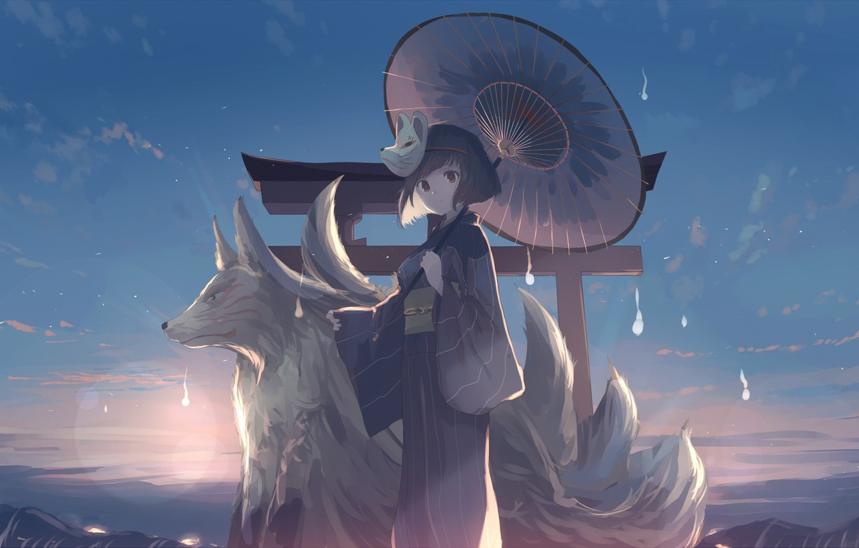 Фото обои небо, девушка, облака, закат, горы, природа, волк, аниме, маска, арт, кимоно, mifuru