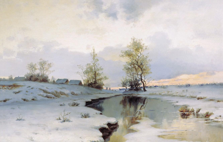Фото обои снег, река, масло, Холст, Иван ЕНДОГУРОВ, Начало весны