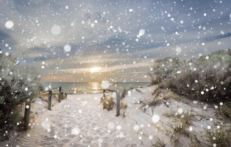 Фото обои зима, море, пляж, снег, природа, дюны