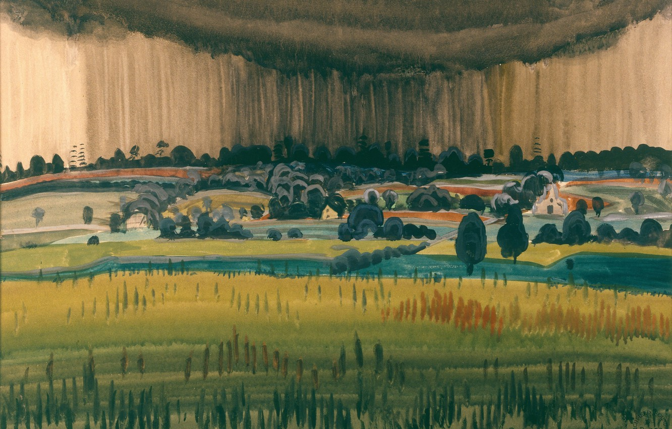 Фото обои 1917, Charles Ephraim Burchfield, Landscape with Rain