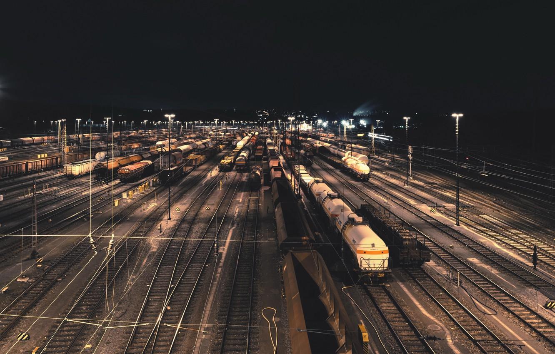 Обои ночь, станция, Железная дорога. Города foto 6