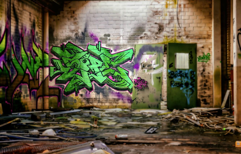 Фото обои стена, граффити, hdr, заброшенное здание, ultra hd