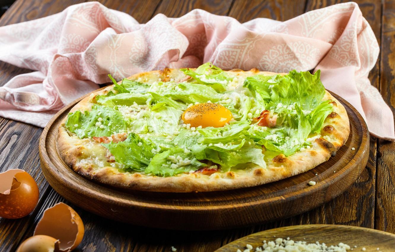 Фото обои яйцо, салат, Пицца