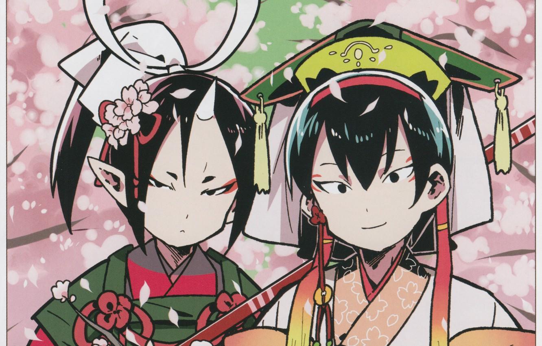 Фото обои сакура, двое, цветение, японская одежда, art, рог, головной убор, ёкаи, hoozuki, хладнокровный Хозуки, hoozuki no …