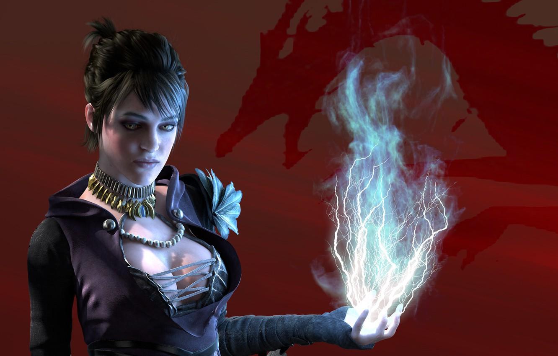 Фото обои девушка, красный, фон, магия, молния, red, ведьма, magic, Morrigan, начало, Dragon Age, origins, witch, Морриган