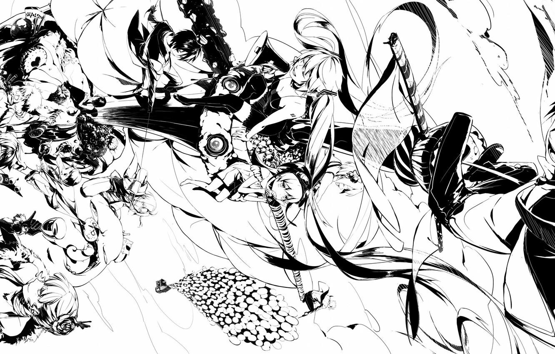 Фото обои Аниме, Чёрно-белая, монохромные