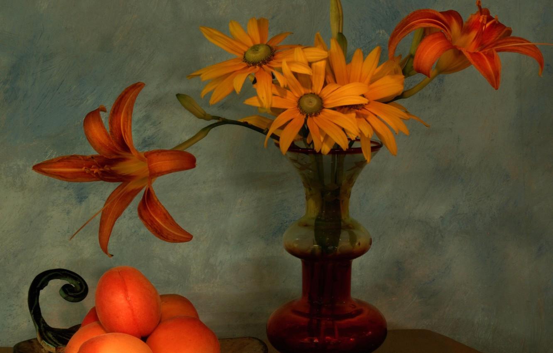 Фото обои букет, лепестки, ваза, натюрморт, абрикосы
