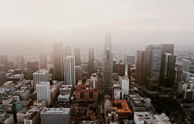 Фото обои туман, Город, City, USA, сша, fog