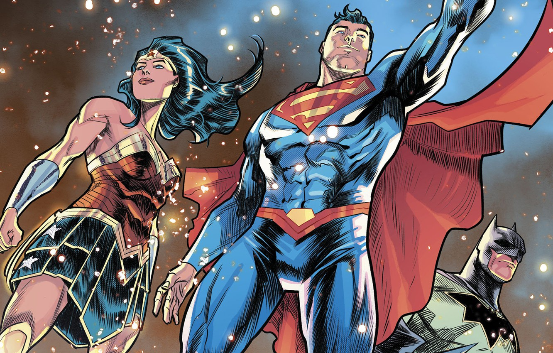 Фото обои batman, superman, comics, heroes, justice league, wonder Woman