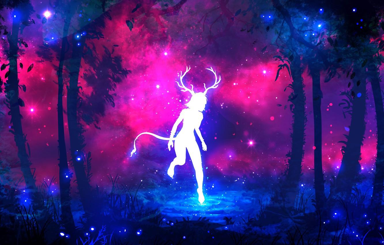 Фото обои лес, фиолетовый, трава, вода, девушка, космос, звезды, деревья, ветки, светлячки, дерево, сиреневый, розовый, голубой, темный, …