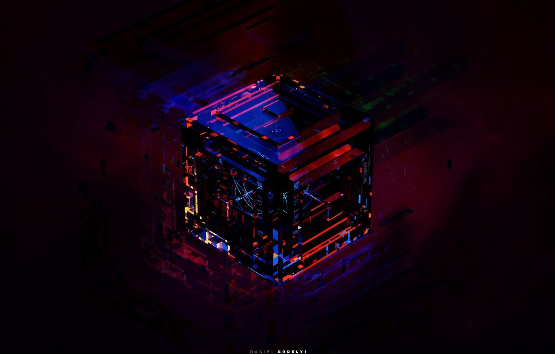 Фото обои стекло, цвета, оранжевый, синий, желтый, красный, зеленый, серый, голубой, черный, неон, куб, бордовый, оттенки, dijital …