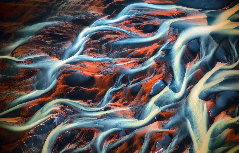 Фото обои вода, земля, грязь, вены, реки, вид сверху