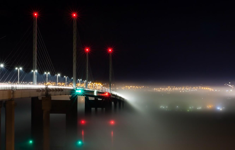 Фото обои Bridge, Scotland, Into the Mist, Transport, Kessock