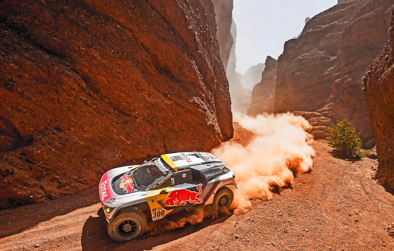 Фото обои Горы, Пыль, Скалы, Спорт, Скорость, Гонка, Грязь, День, Ущелье, Peugeot, Фары, Жара, Red Bull, Rally, ...