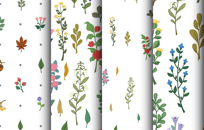 Фото обои цветы, фон, текстура, patterns, веточки, floral, seamless