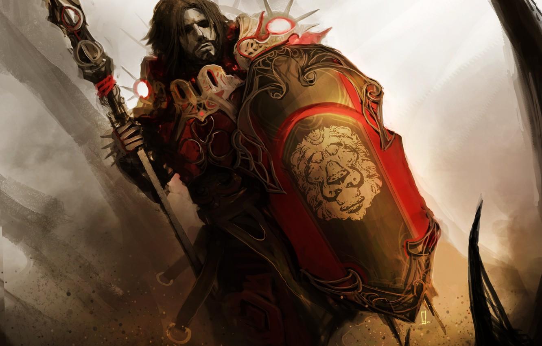 Фото обои щит, копьё, theDURRRRIAN, shield master, голова льва